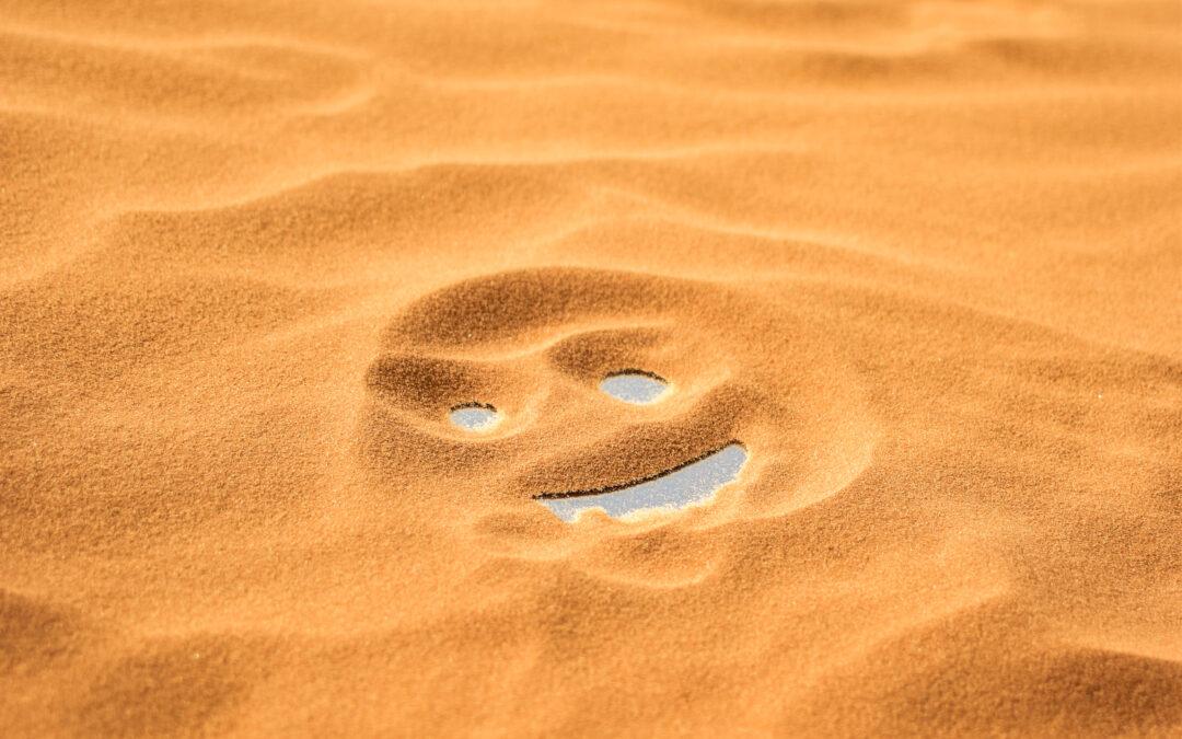 χαμογελαστό πρόσωπο στην άμμο άχθος αρούρης